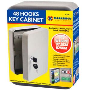 KEY CABINET SAFE CASE BOX 48 KEYS HOOKS METAL STORAGE LOCKING SECURITY CASE NEW