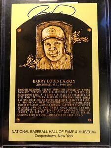 Barry Larkin Yellow HOF Plaque Postcard HOF Cincinnati Reds JSA Free Shipping!