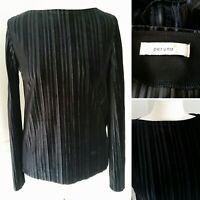 M&S Per Una Size 8 Pleated Jersey Top Black Velvet Stretch Soft Feel