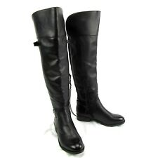Merona Tall Over Knee Riding Boot Low Heel Zipper Buckles Elastic Size 6.5 Black