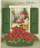VINTAGE CHRISTMAS CANDLES HOUSE TREE BLACK POODLE DOG POINSETTIA CARD ART PRINT