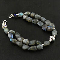 BRILLIANT AAA 160.15 CTS NATURAL BLUE LABRADORITE FACETED BEADS BRACELET(RS)