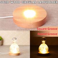 3D Crystal Glass Trophy Laser LED Light Stand Base Display Wood Warm Light USB
