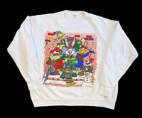 Vintage 90s Looney Tunes Bugs Bunny Daffy Duck Taz Christmas Sweatshirt 1994