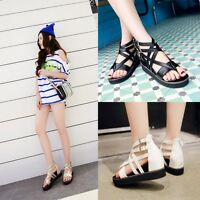 Womens Summer Flat Heel Ankle Strap Casual Sandals Thong Gladiator Shoes Gothic