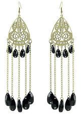 C1175 hollow dragonfly chain water drop bead cute women dangle hook earrings new