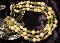 Vintage 3 Strand Green Glass Bead Necklace CAT RESCUE