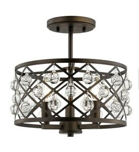Home Decorators Collection Pennington Crest 3-Light Aged Bronze Semi Flush Mount
