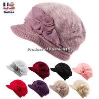 Fashion Women's Winter Rabbit Fur Knit Hat Flower Warm Visor Beanie Cap Beret