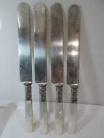 4 Vintage Mother of Pearl Sterling Ferrule Luncheon Knives