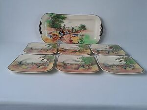 Royal Doulton Countryside workers D4932  7 piece Samwich Set