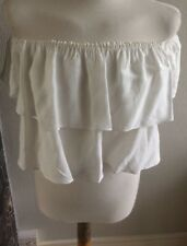 TOP SHOP WHITE BANDEAU CROPPED FLOATY TOP FRILLED OVERLAY SIZE 8