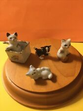 4 Miniature Bone China/Porcelain Kittens Made in Japan Hand Painted, 1-2 inches