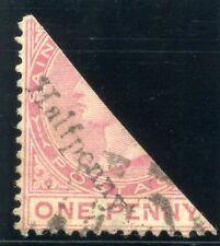 St Christopher 1885 QV Surcharge ½d on half of 1d carmine-rose VFU. SG 23. Sc 17