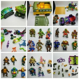 LOT Vintage TMNT Action Figures Ninja Turtles Playmates and Vehicles for Parts