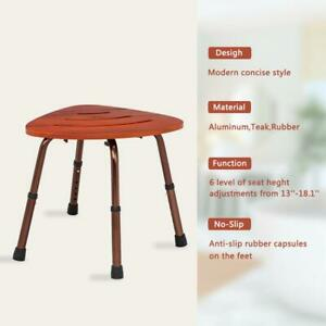 Teak Shower Stool Corner Chair Seat Foot Bench Wood Bath Spa Elderly Bathtub New