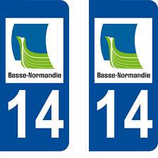 Département 14 sticker 2 autocollants style immatriculation AUTO PLAQUE