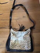 Topshop Leopard Real Leather Bag Black Handbag