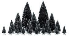 LEMAX CHRISTMAS VILLAGE HOUSE ACCESSORIES - (21) CHRISTMAS TREES - VARIOUS SIZES