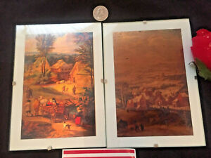 """Primitive Folk Art Copper Pair Drawing Medieval Life Style Setting 7""""x 5"""" Mount"""