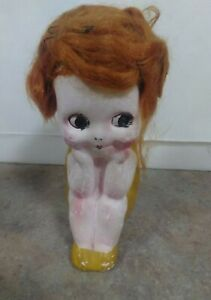 1920's Chalkware Flapper Kewpie Doll With Wig Carnival Prize