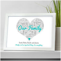 Our Family Personalised Family Gifts Christmas Birthday Mum Dad Parents Present