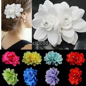 Fabric 2 Flower on1 Clip Pin Hair Pin Hairband for Women Bridal Wedding Party US