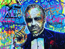 """Alec Monopoly Oil Painting on Canvas Graffiti Wall Decor The Godfather 28x36"""""""