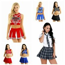 Sexy Cheerleader Uniform Sports Women Costume Crop Top Mini Pleated Skirt Outfit