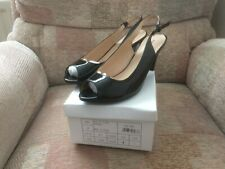 LADIES BLACK PATENT SLINGBACK SHOES SIZE 7 BRAND NEW IN BOX