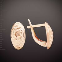 Russische Rose Rotgold 585 28x4mm leichte Damen Ohrringe Oval günstig earrings