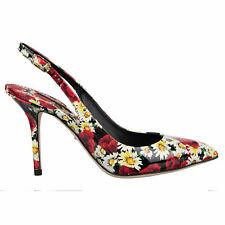 DOLCE & GABBANA Carnation Slingback Pumps Heels BELLUCCI Black Red 37,5 08220
