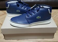 New Lacoste Ampthill Junior Kids Boys Mid Top Retro Trainers Navy White Uk 4