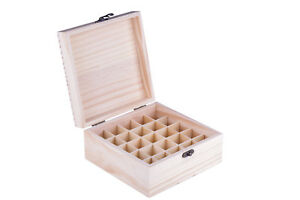 Essential Oil Wooden Storage Box 25 Slot Holds 100mm Tall Bottles Aromatherapy