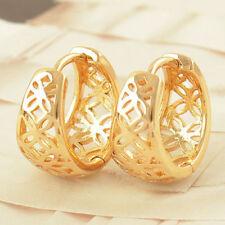 9K Yellow Gold Filled Openwork Huggie Hoop Earrings 8*15mm