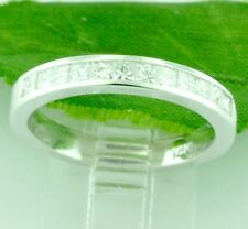 0.75 ct 14k Solid White Gold Natural Diamond Ring Princess Cut Channel Set