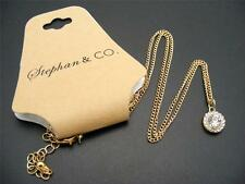 $12 Stephan & Co Round Faceted Rhinestone Pendant Goldtone Chain Necklace 22""