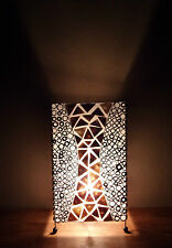 Unusual Gold Shell & Bamboo Box Lamp Hand Made Large Ethnic Bali Table Lamp 50cm