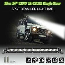 """14"""" 120W 12 CREE LED Luz de trabajo de una sola fila Barra haz puntual para Coche Camión Barco SUV"""
