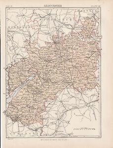 Gloucester Original colour map 1875 W & A K Johnston