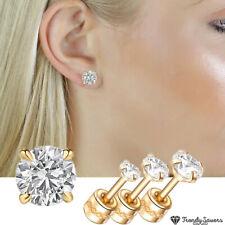 14K Yellow Gold Screwback Earrings Round Cubic Zirconia Studs For Women Men Girl