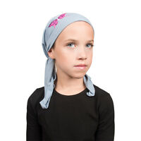 Kids Pretied Light Blue Chemo Headscarf Pink Sequin Butterfly Cute Girls Beanie