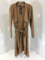 BOOHOO WOMEN'S KATIE SHAWL COLLAR BELTED DUSTER CAMEL SMALL/MEDIUM NWT