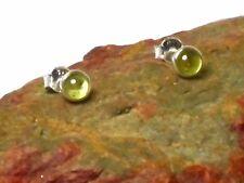 Round  Green PERIDOT  Sterling  Silver  925  Gemstone  Stud Earrings -  4 mm