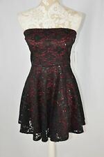 Love Reign Womens Medium Red Black Lace Overlay Sequin Strapless Cocktail Dress