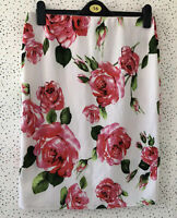 New Look Pink Floral Summer Elasticated Waist Skirt Size 16 Occasion