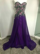Ellie Wilde Mon Cheri Sexy Purple Prom Quinceanera Formal Dress SIZE 4
