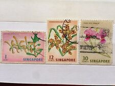 Singapore Used Stamps - 3 pcs Assorted Flower Stamps