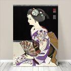 "Beautiful Japanese GEISHA Art ~ CANVAS PRINT 8x12"" Girl with Fan"