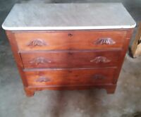 044 Antique Dresser With White Marble Top 3 Drawer